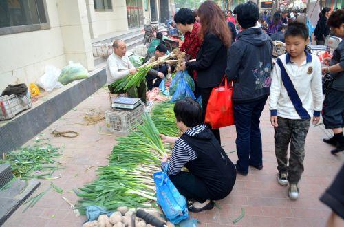 turgus, gatvė, pardavimas, verslas, maistas, daržovių, žmonės, Kinija, Zhengzhou, gatvės turgus