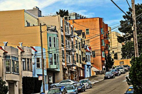 San & nbsp, francisco, apartamentai, gyvenimo būdas, kaimynystėje, miesto, Kalifornija, dažytos, meno, san francisco gatves