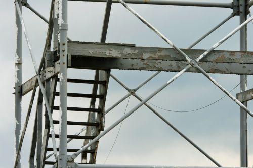 bokštas, senas, nusidėvėjęs, sulaužytas & nbsp, žemyn, žingsniai, oro & nbsp, eismo & nbsp, kontrolė, senojo oro eismo bokšto struktūra