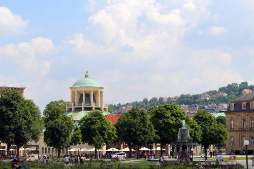 štutgartas,Vokietija,schlossplatzfest,architektūra,kiemas,pastatas,saulėtas,taikus,istoriškai,pilis,saulė,dangus,sodas,vasara,schlossgarten,šviesa,barokas,barokschloss,ryto šviesa,kultūra,saulės šviesa,atgal šviesa,medžiai,debesys