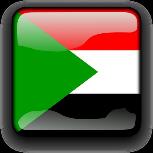 Sudanas,vėliava,Šalis,Tautybė,kvadratas,mygtukas,blizgus,nemokama vektorinė grafika