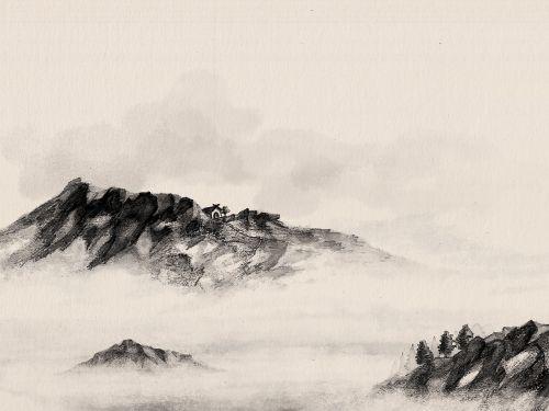 sumi,Sumi-e,akvarelė,Kinija,kinai,meno,asian,rytus,japanese,meno kūriniai,dangus,tradicinis,dažymas,rašalas,juoda,kraštovaizdis,pagoda,pastatas,debesys,rankų darbo,rytietiškas,vanduo,ežeras,rūkas,kalnas,uolingas kalnas,dangus,taikus,aplinkosauga,natūralus,gamta,lauke,dvasinis,migla,piešimas,šepetys,ramus,bw,dažyti,atsipalaidavęs