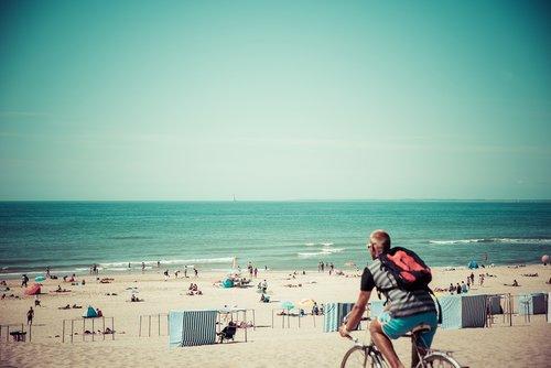 vasara, papludimys, jūra, smėlis, pakrantės, vandenynas, vandens, atostogos, dviratininkai, Hipster, kelionė, kraštovaizdis, Pietų Prancūzija