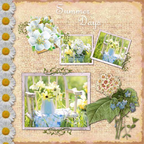 gėlės, gėlių, Daisy, rozės, vasara, vazos, kėdė, sodas, gražus, Scrapbooking, puslapis, scrapbooking & nbsp, puslapis, šablonas, Laisvas, viešasis & nbsp, domenas, vasaros gėlės scrapbooking puslapis