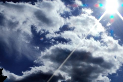 saulė, saule & nbsp, užsidegimas, išvirtimas, debesis, Debesuota, debesys, mėlynas, dangus, saulė spindi debesimis