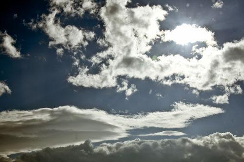 saulė, sunray, šlovė, dangus, lietus, debesis, debesys, dangus, saulės spinduliai per debesis