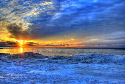 saulėtekis, ledas, Viskonsinas, ežeras, kraštovaizdis, vaizdingas, aušra, saulėtekis per ledą