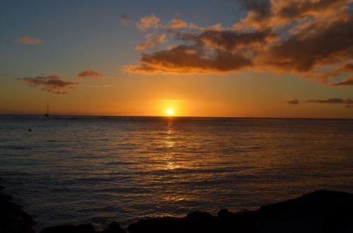 saulėlydis,Hawaii,Hawaii beach,vandenynas,papludimys,kelionė,paplūdimio vakaras