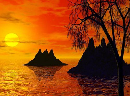 saulėlydis,saulėlydžio salos,sala,kraštovaizdis,gamta,dangus,jūra,vandenynas,kalnas,saulėlydis,laisvė,saulės šviesa,saulė,atogrąžų,lauke,atogrąžų paplūdimys,atsipalaiduoti,oranžinis saulėlydis