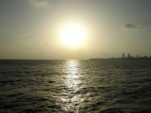 saulėlydis,Indija,jūra,Mumbajus
