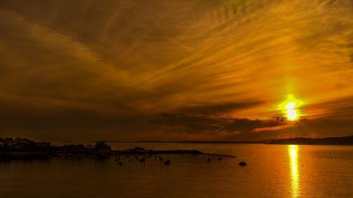 saulėlydis,horizontas,debesys,dangus,jūra,saulė,kraštovaizdis,vakaro saulė,Besileidžianti saulė,prieš šviesą,Galicia