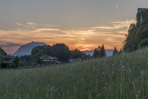 saulėlydis,Karintija,finkensteinas,abendstimmung,kraštovaizdis,vakaras,austria,sugadinti,kalnai,nuotaika,žygiai,vaizdas,debesuota dangaus,dangus,debesys,gamta,peizažai,romantika,pieva,saulės šviesa,mistinis