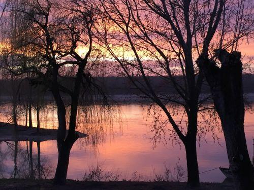 saulėlydis,vanduo,upė,vandens atspindys,italy,Po upė,kraštovaizdis