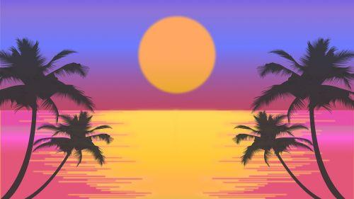 saulėlydis,papludimys,palmės,saulė,retro,retro saulėlydis,vektorinis saulėlydis,spalvingas saulėlydis