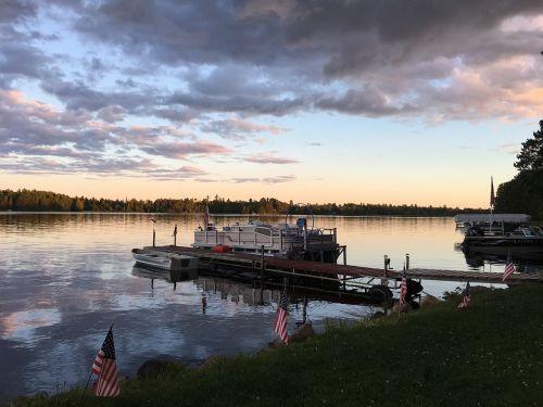 saulėlydis,pontono valtis,prieplauka,ežeras,pontonas,valtis,atspindys,vasara,dusk,eilinė valtis,minnesota