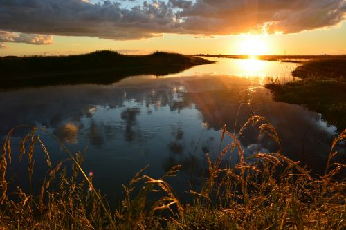 saulėlydis,srautas,gamtos kraštovaizdis,kraštovaizdis,saulė