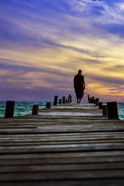 saulėlydžio, dangus, lauke, prieblanda, kelionė, Dawn, vakare, vienuolis, vaikščioti meditacija, budistų, Theravada budizmas, Twilight, vaizdingas, vaikščioti, Budizmas, prieplauka, perpective, Pier, jūra, Lang Tengah sala, Malaizija