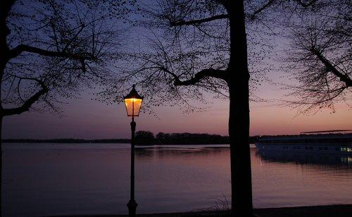 saulėlydžio, mėlyna veikia, Žibintai, vasara, medis, atspindys, vandenys, ežeras, Berlynas, pobūdį, vandens, Tegel
