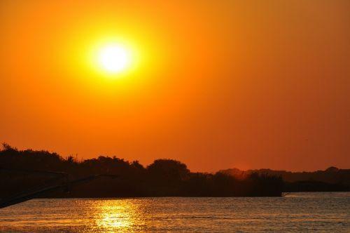 saulėlydis,zambezi upė,Zimbabvė,upė,dangus,oranžinė,saulė