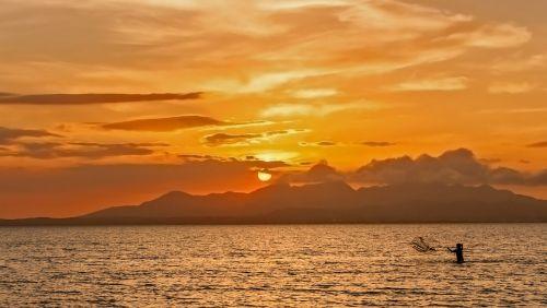saulėlydis,lagūnas,žvejyba,jūra,vanduo,kalnai,kraštovaizdis,vaikas,sala,kranto,jūros dugnas