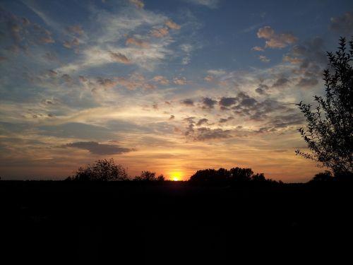 saulėlydis, ruduo, vakarinis dangus, aukso ruduo, gamta, nuotaika