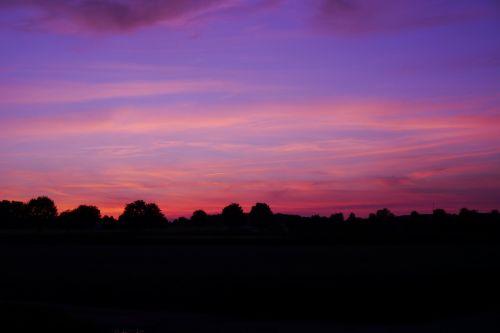 saulėlydis,afterglow,Morgenrot,debesis,debesys,romantika,atmosfera,šviesa,dusk,violetinė,rožinis,mėlynas,horizontas,šešėlis,medžiai,kontrastas,atsipalaiduoti,gamta