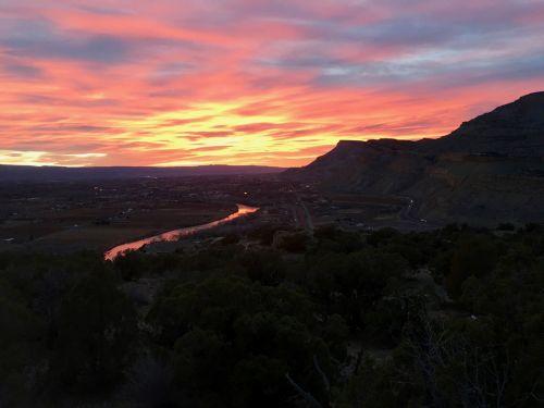 saulėlydis, Colorado, vakarų & nbsp, spalvotas, palisade, sodai, vynuogynai, saulėlydis per sodus ir vynuogynus