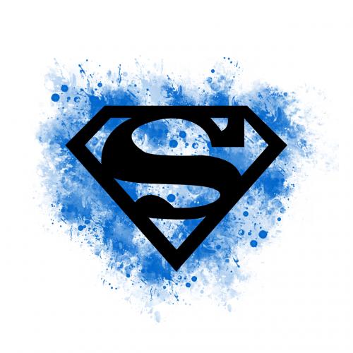 supermenas,Super mergina,su,Super herojus,s,logotipas,Superwoman,super,skristi,juoda,mėlynas,tatuiruotė,akvarelė