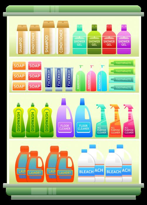 prekybos centro lentyna,Produktai,šampūnas,buitiniai gaminiai,valymo produktai,vonios prekės,ploviklis,muilas,dantų pasta,prekės,Iliustracijos,prekybos centras,mažmeninė,apsipirkimas,prekes
