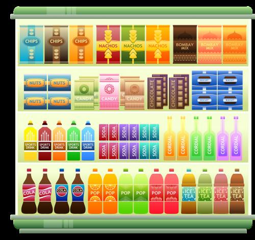 prekybos centro lentyna,Produktai,užkandžiai,traškučiai,lustai,saldainiai,šokoladas,riešutai,soda,širdies,pop,prekės,be gėrimų,Iliustracijos,prekybos centras,mažmeninė,apsipirkimas,prekes