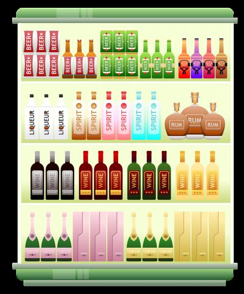 prekybos centro lentyna,likeris,alkoholis,spiritai,alus,romas,šampanas,vynas,Produktai,prekės,Iliustracijos,prekybos centras,mažmeninė,apsipirkimas,prekes