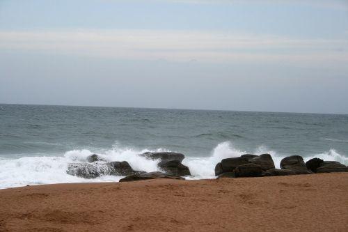 jūra, vandenynas, akmenys, naršyti, balta, papludimys, smėlis, naršyti uolose, umhlanga