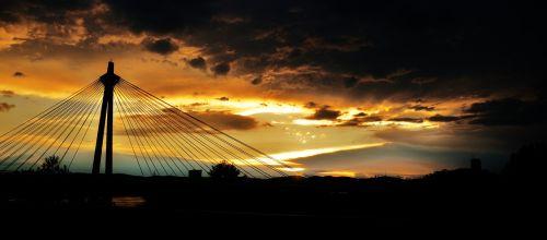 kabantis tiltas,tiltas,saulėlydis,lyno tiltas,priklausyti,architektūra,siluetas