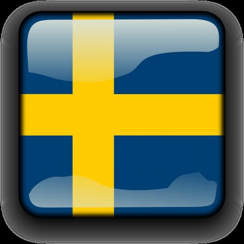 Švedija,vėliava,Šalis,Tautybė,kvadratas,mygtukas,blizgus,nemokama vektorinė grafika