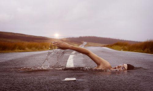 Plaukikas, Sportas, Plaukti, Vanduo, Plaukti, Žmogus, Kelias, Kraštovaizdis, Saulė, Vakaras, Afterglow, Saulėlydis