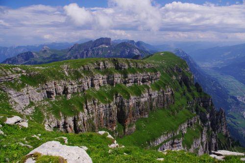 Šveicarija, swiss, kalnai, peizažas, vasara, debesys, churfirsten, Šveicarijos peizažas