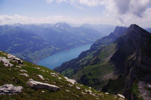 Šveicarija, swiss, kalnai, peizažas, vasara, churfirsten, ežeras, Šveicarijos peizažas