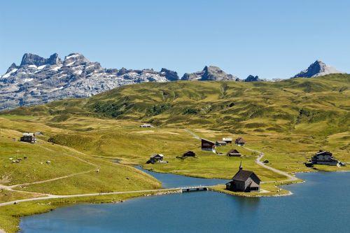 Šveicarija,kalnai,Bergsee,Melchsee