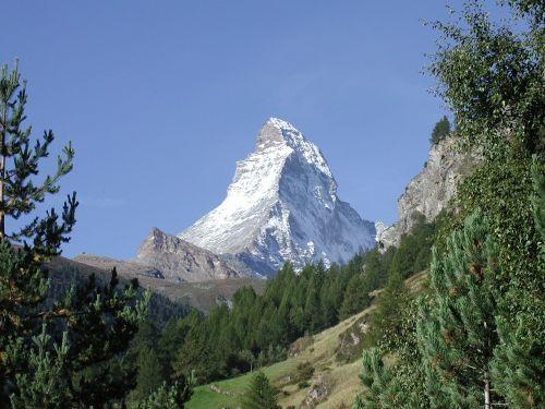 Šveicarija, Zermatt, Matterhorn, Kalnai, Kraštovaizdis, Sniegas