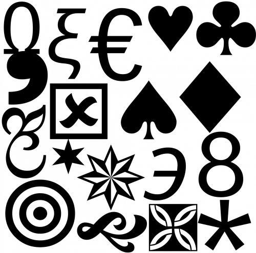 nustatyti, simboliai, ženklai, juoda, izoliuotas, balta, fonas, simboliai 2