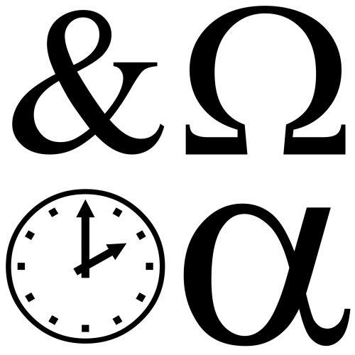 simboliai, nustatyti, siluetas, juoda, balta, fonas, laikrodis, alfa, Omega, ampersandas, skyryba, ženklas, simboliai