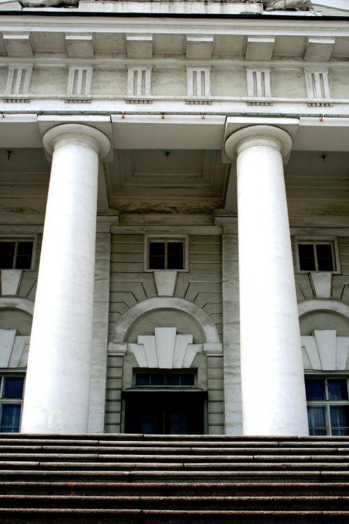 pastatas, stulpai, balta, simetriškas, žingsniai, išlenktas & nbsp, įėjimas, architektūra, simetriški stulpai, Sankt Peterburgas