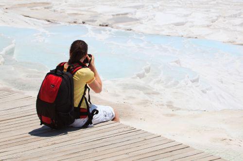 nuotrauka, kalcio, Moteris, geologinis, mergaitė, moteris, kraštovaizdis, kalkakmenis, mineralinis, gamta, pamukalė, baseinas, Rokas, terasa, terminis, travertinas, Turkija, turkish, vanduo, Fotografas, užsiėmes, fotografuoti