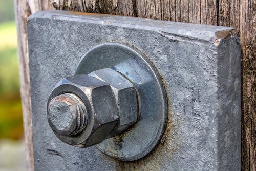 technologijos, liaukos, varžtas, motina, plovimo, nustatantis, metalo, metalinė lėkštė, cinko, padengta cinku, Padengtas nikeliu, lėkštė, mediena, jungtis, dvigubai, prijungtas, atsarginės, atsargines kopijas