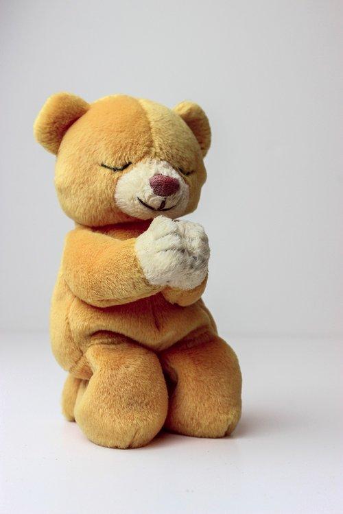 meškiukas, Beanie kūdikis, melstis, melstis, Teddy, saldus, mielas, turėti, rudi, minkštas žaislas, pliušinis žaislas