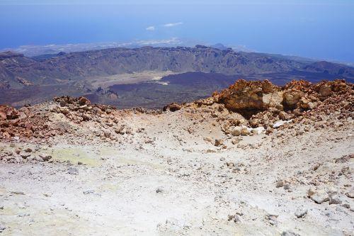teide,pico del teide,aukščiausiojo lygio susitikimas,vulkaninis krateris,krateris,vulkanas,perspektyva,tolimas vaizdas,skaityti cañadas,kaldera,siera,sieros garai,lava,lavos laukas,vulkaninis,teyde,Teide nacionalinis parkas,Tenerifė,Kanarų salos