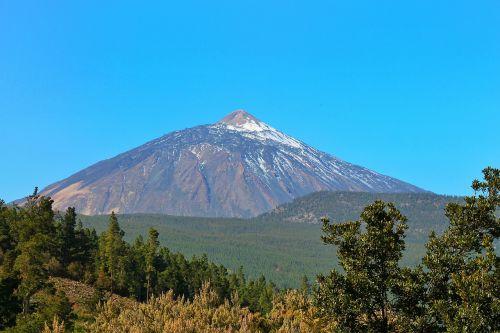teide,kalnas,vulkanas,Tenerifė,Kanarų salos,el teide,pico del teide,Ispanija,sala,tolimas vaizdas,aukščiausiojo lygio susitikimas,dangus,mėlynas,Nacionalinis parkas,Teide nacionalinis parkas