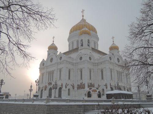 šventykla,Rusija,moscow,Kristaus Išganytojo katedra,religija,ortodoksija,krikščionybė,žiemos šventykla,šventyklos pastatas,balta šventykla,vera,architektūra,katedra,rytas,žiemos ryto šventykla,ryto šventykla,ryto žiemos šventykla