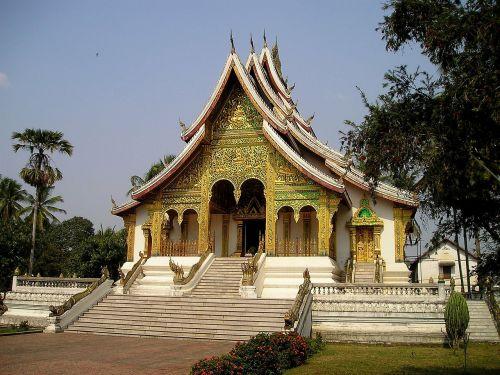 šventykla,budizmas,auksas,į pietryčius,asija,laosas