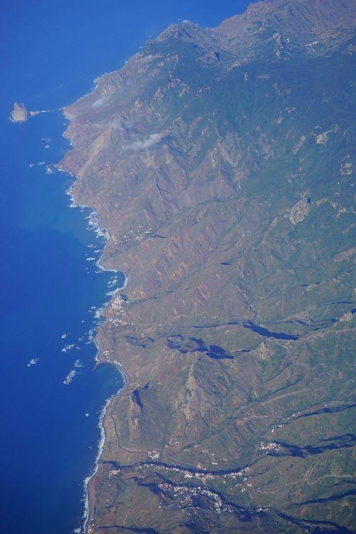 Tenerifė,oro vaizdas,Anaga kalnai,sala,Kanarų salos,skristi,kranto,kalnai,roques de anaga,roque de tierra,roque de dentro,šiaurės rytų pakrantė